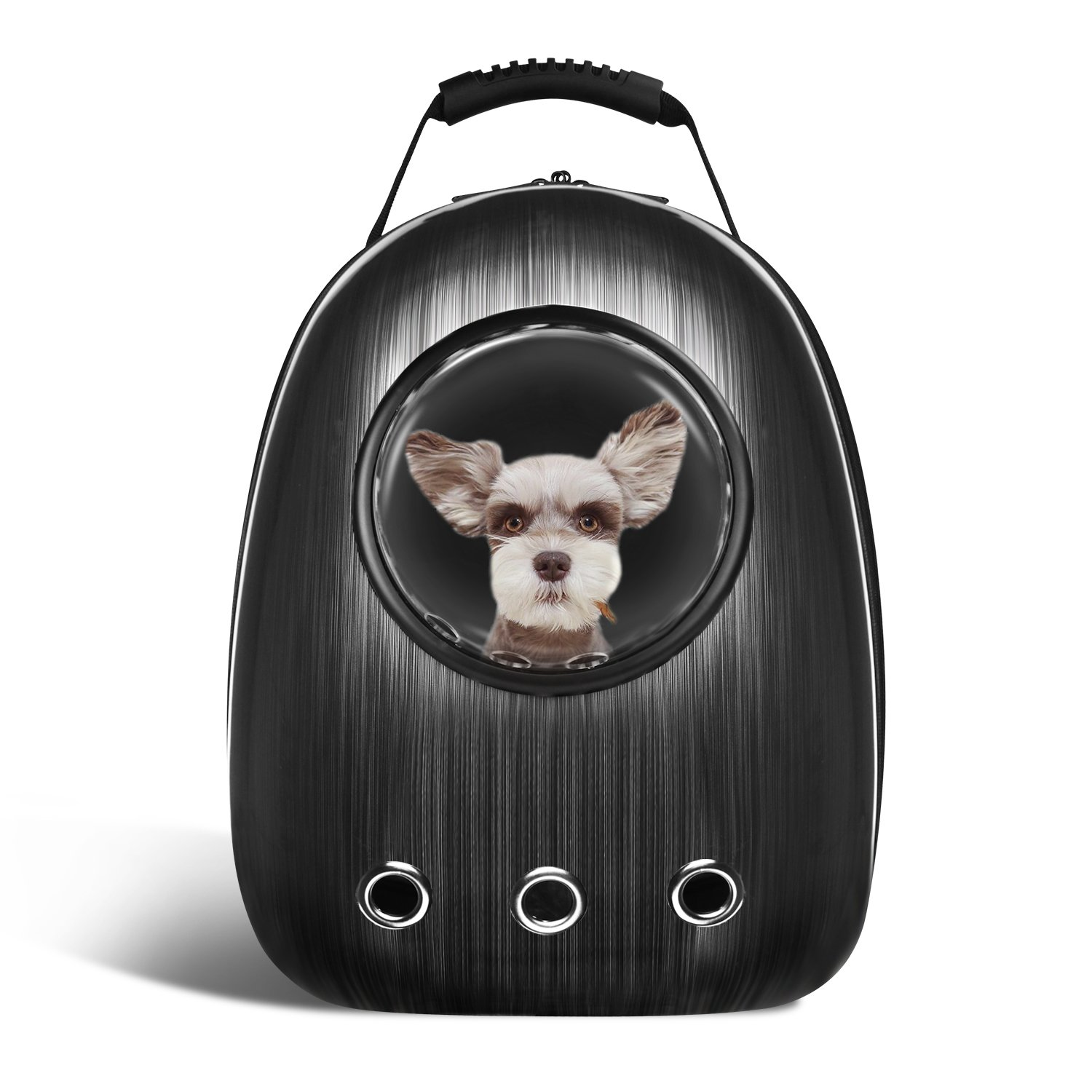 Anzone Pet Portable Carrier Space Capsule Backpack, Pet Bubble Traveler Knapsack Multiple Air Vents Waterproof Lightweight Handbag for Cats Small Dogs & Petite Animals-Black,30L