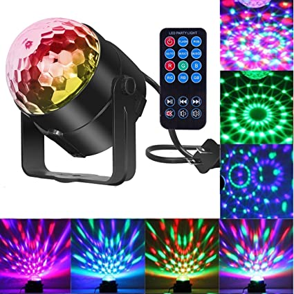Comwinn Disco Lights Sound Activated Strobe Light Disco Ball Dj Lights  Party Lights Xmas 7colors Disco