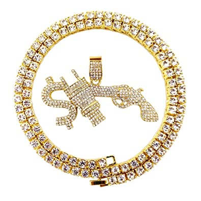 Amazon.com: HH Bling Empire Hip Hop Bling Iced Out - Collar ...