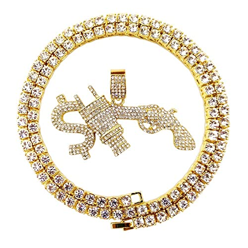 e1dfe4d3ff80d HH Bling Empire Mens Hip Hop Bling Iced Out 14K Gold Artificial Diamond  Cartoon Characters cz Tennis Chain Necklace 22 Inch