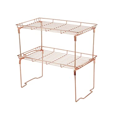 Kitchen Cabinet and Counter Shelf Add-on Organizer Tray 15 L x 9 W x 7.5 H (Large (Pack of 2), Copper)
