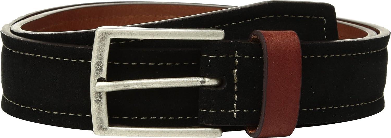 Johnston /& Murphy Mens Suede /& Leather Loop Belt Black 38