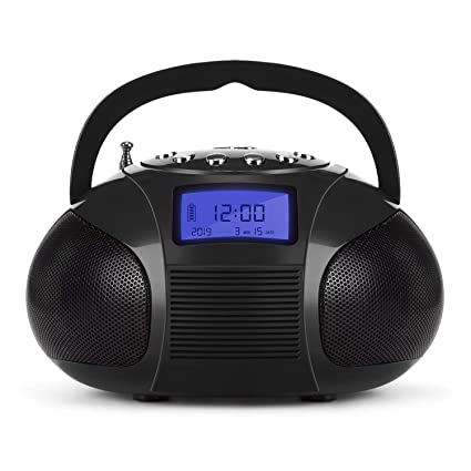 Mini Radio Clock, Bluetooth Speakers MP3 Stereo System Portable with Powerful Bluetooth Speaker- FM Alarm Clock Radio with Card Reader, USB and AUX in ...