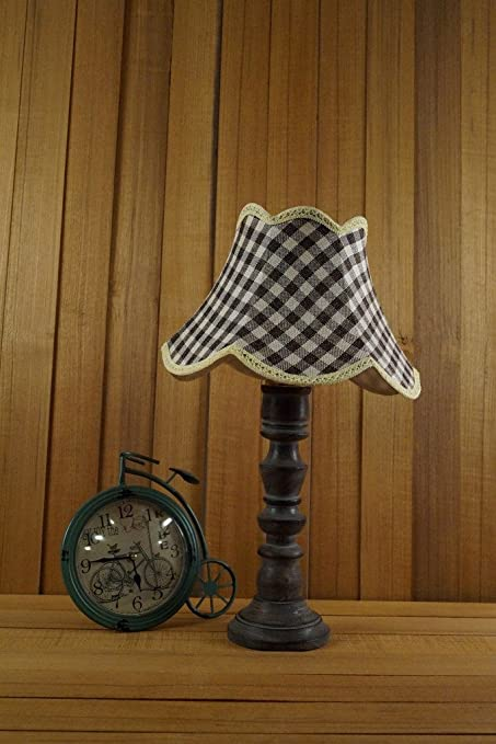 GREY MANGO WOOD TABLE LAMP WITH JUTE SHADE COLOR   GREY CHECK