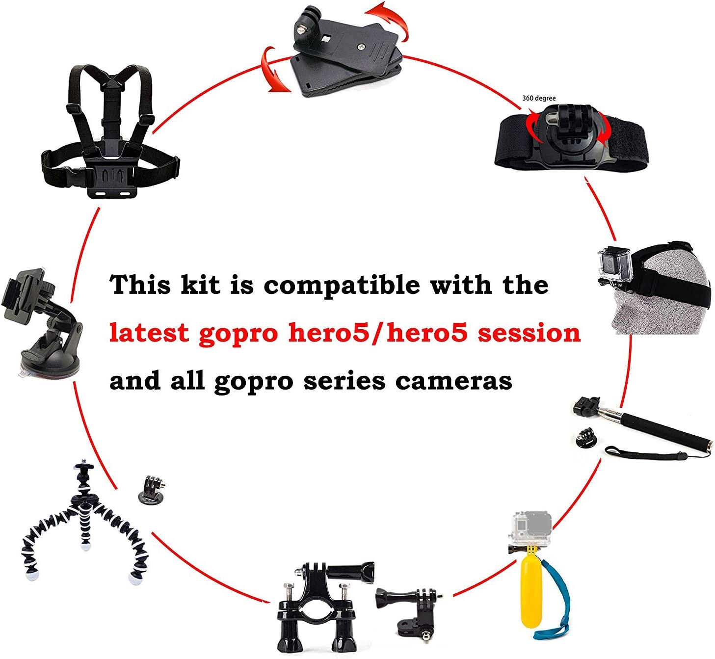 AKASO Accesories Gopro Accessories Head Strap Mount Headstrap Chest Mount for AKASO EK7000 Gopro Hero5 Gopro Session Apeman A70 Apeman Waterproof Action Camera