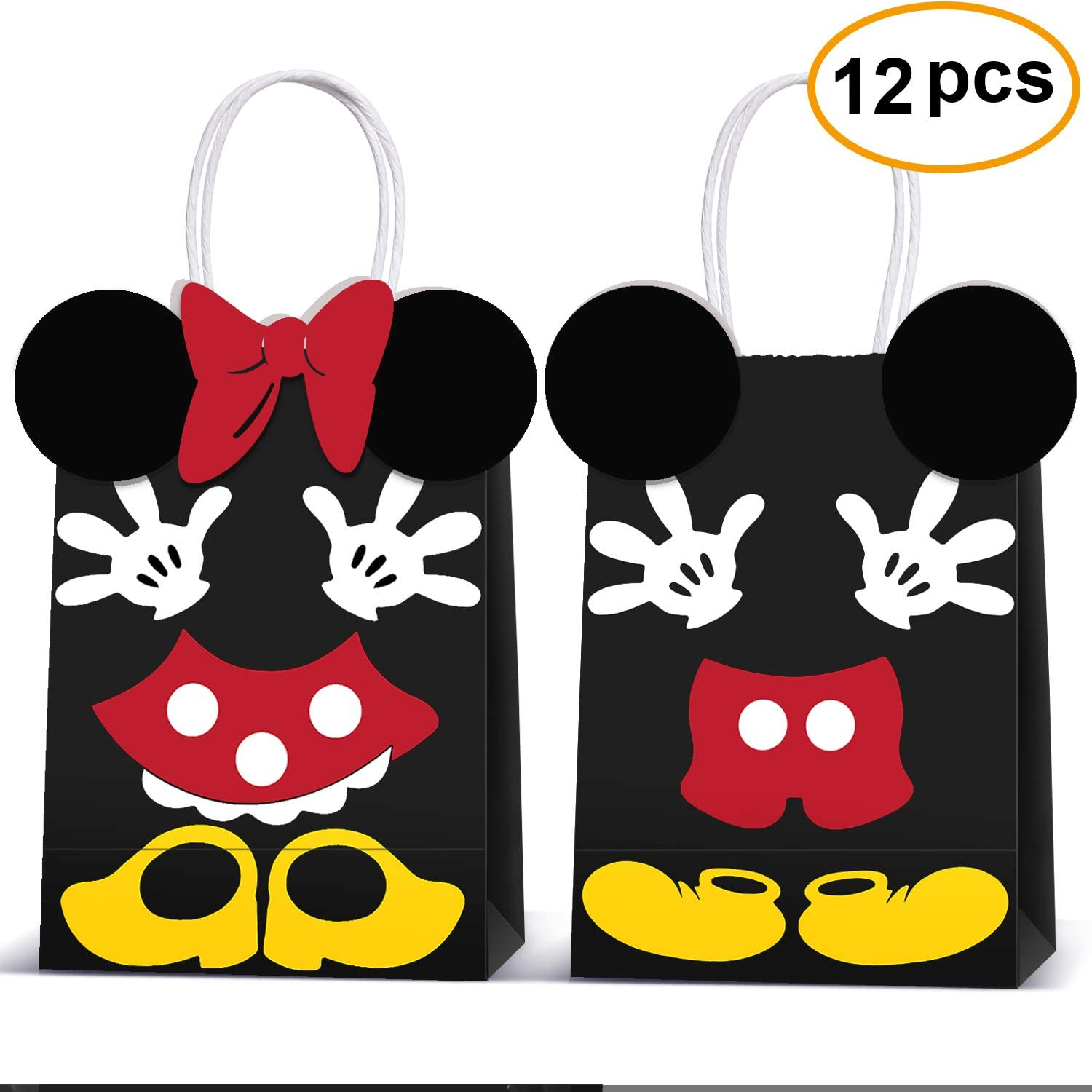 Micky Minnie Party Favor Bags -Micky Minnie Paper Treat Candy Gift Bags for Kids Birthday Micky Minnie Party Supplies -12 Piece (Yellow)
