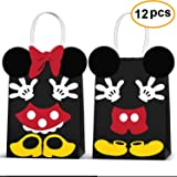Micky Minnie Party Favor Bags -Micky Minnie Paper Treat Candy Gift Bags for Kids Birthday Micky Minnie Party Supplies -12 Piece