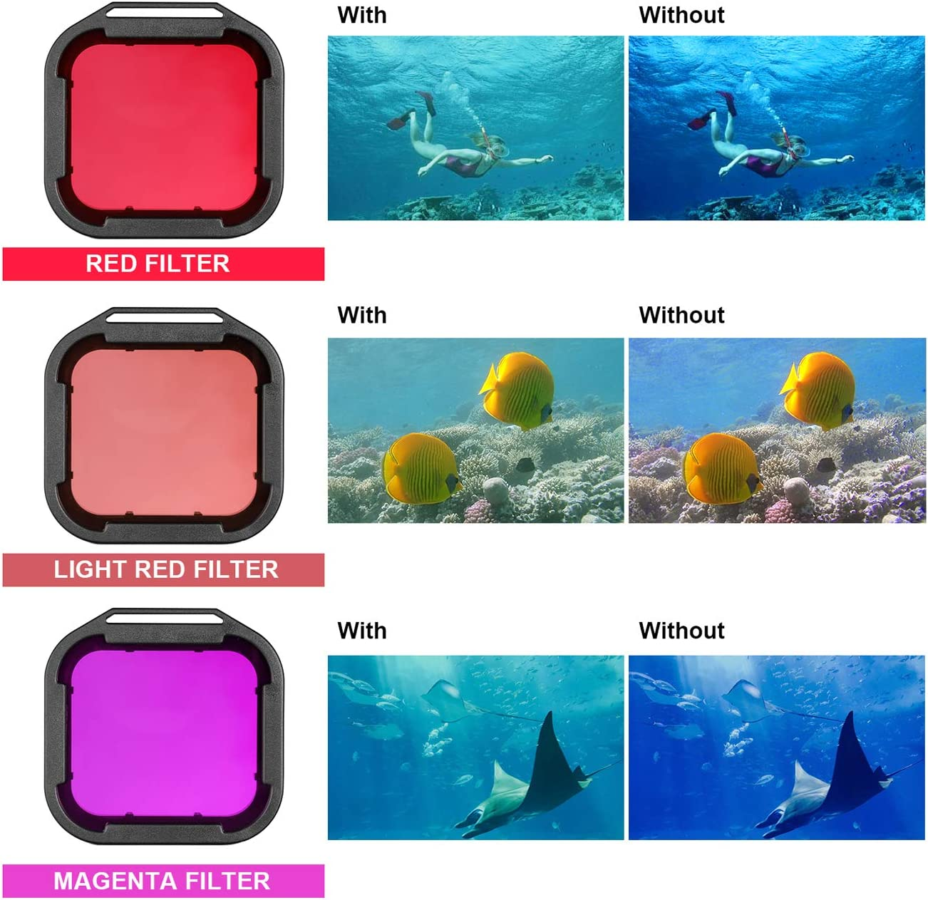 Red//Light Red//Magenta//Yellow Snorkel Filters Compatible with GoPro Official Waterproof Housing 4Pcs Dive Filters for GoPro Hero 5 Hero 6 /& Hero 7 Black