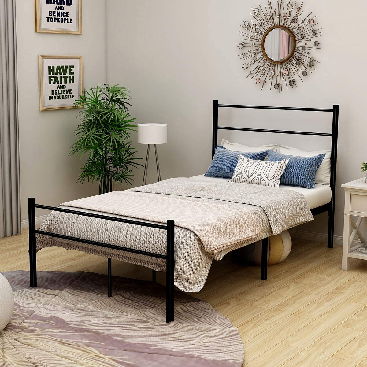 JURMERRY Single Metal Bed Frame with Headboard and Footboard Heavy Duty Mattress Foundation,Black