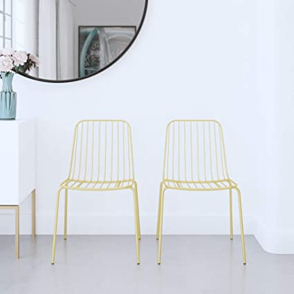 Fine Dhp Cambria Wire Dining Chairs Gold Set Of 2 Amazon Co Uk Uwap Interior Chair Design Uwaporg