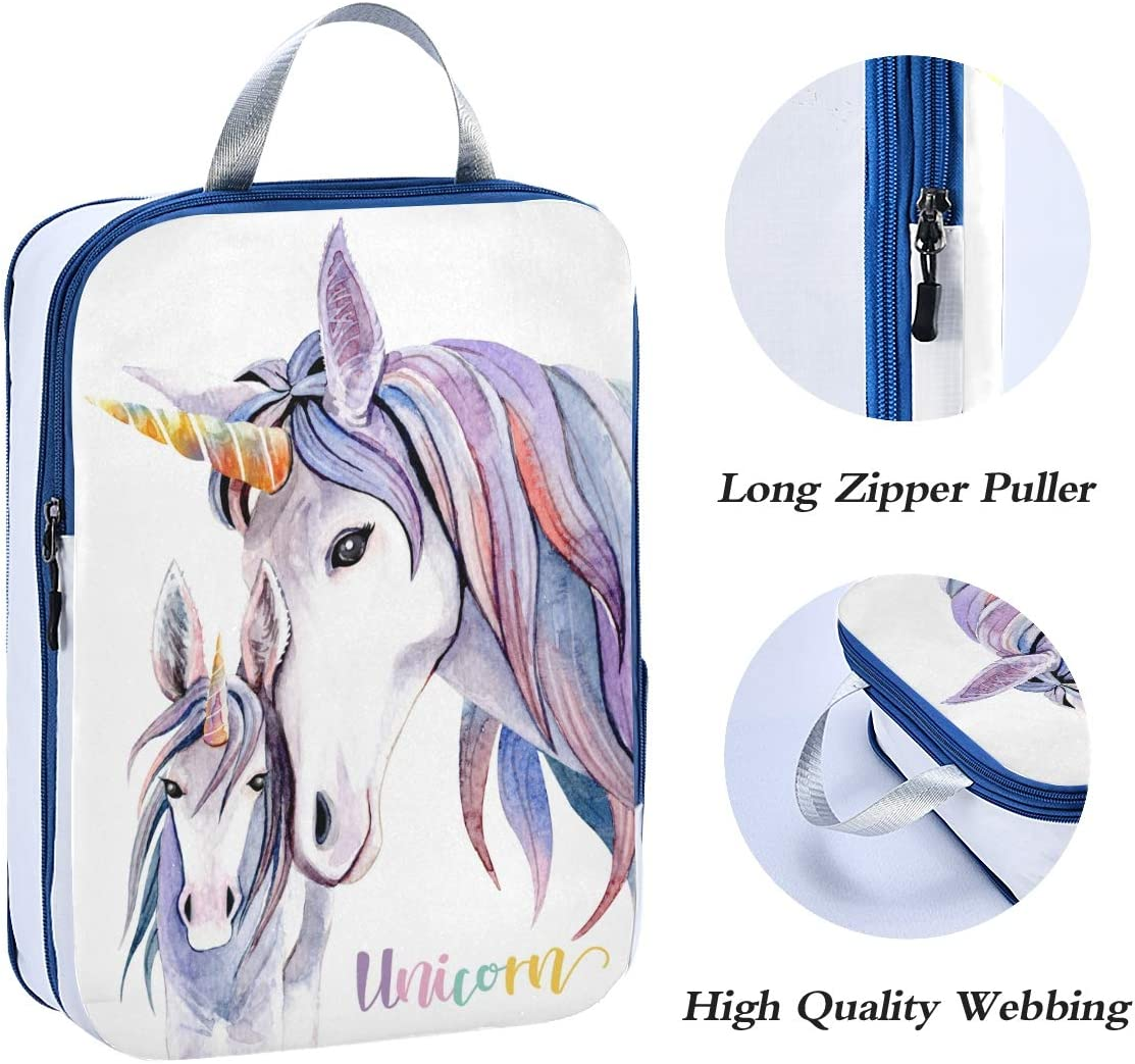 ATONO Watercolor Purple Unicorn Travel Packing Cubes Luggage Organizer Bags Storage 3 Pack Sets Toiletries Shoe Bag for Business Trip Holiday Kids/&Adults