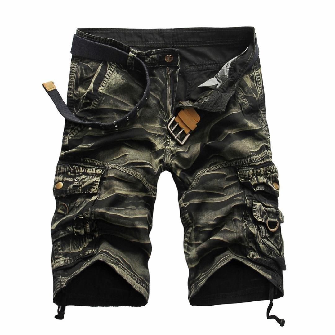 Men Pants Daoroka Men's Casual Pocket Beach Work Casual Short Comfy Fashion Sport Loose Active Trouser (32, Yellow)