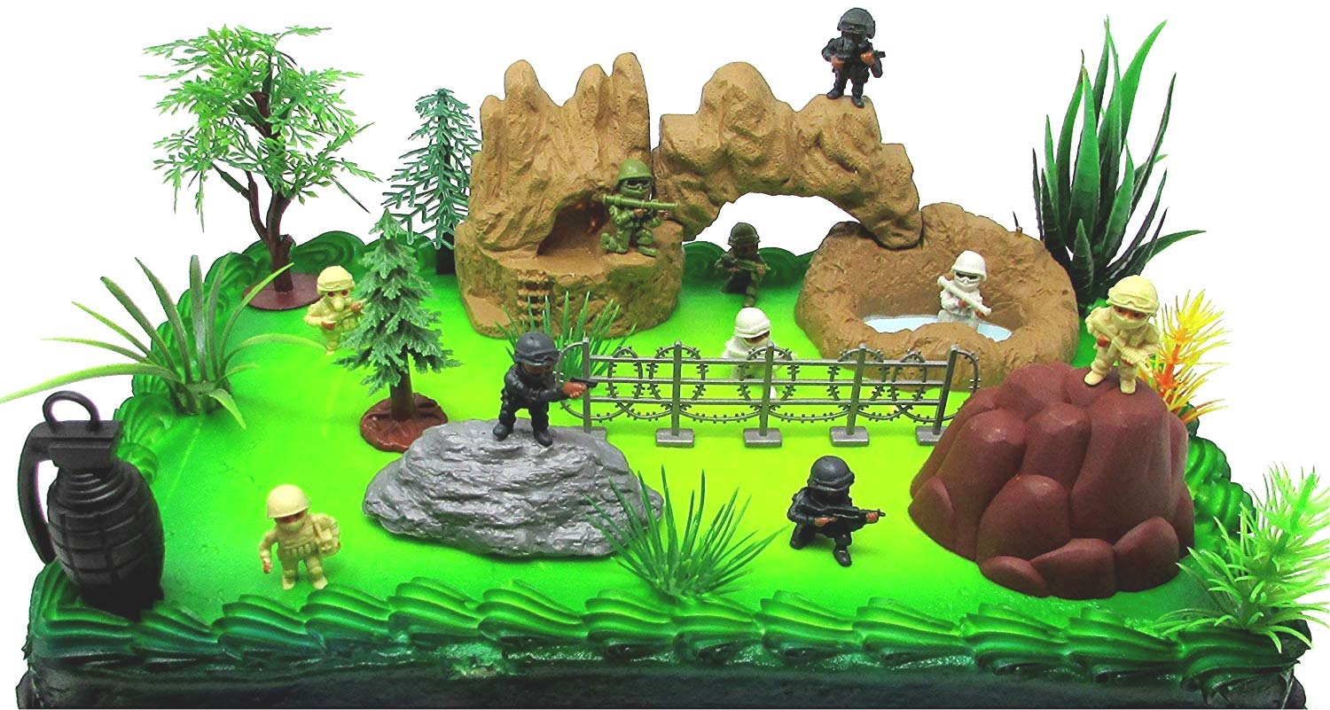 Black Ops - Special Forces Birthday Cake Topper Set Featuring Themed Figures and Accessories