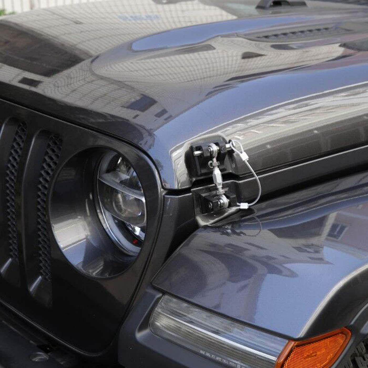 2007-2018 Hood Catch Latch Set Kit Hood Locking Black Aluminum Umlimted 4 Doors omotor Pair for Jeep Wrangler JK 2 Doors