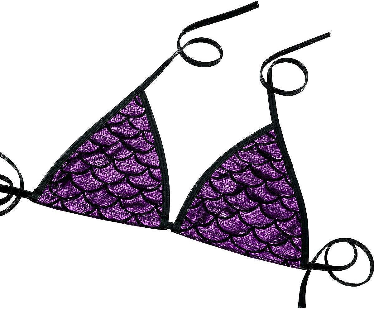 CHICTRY Womens Shiny Metallic Mermaid Fish Scale Printing Bikini Bralette Bra Swimwear