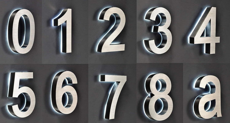 LED Hausnummer 0 Edelstahl V2A 3D H/öhe 20cm beleuchtet rostfrei mit Tranformator 220 Volt D/ämmerungssensor vollautomatisches An und Aus Patentiert erh/ältlich 0 1 2 3 4 5 6 7 8 9 a b c d