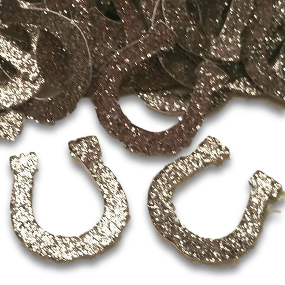 """Custom & Fancy {1'' Inch} Approx 100 Pieces of """"Table"""" Party Confetti Made of Premium Card Stock w/ Western Rodeo Cowboy Lucky Glitter Horseshoe Decorative Scatter Craft Design [Silver]"""