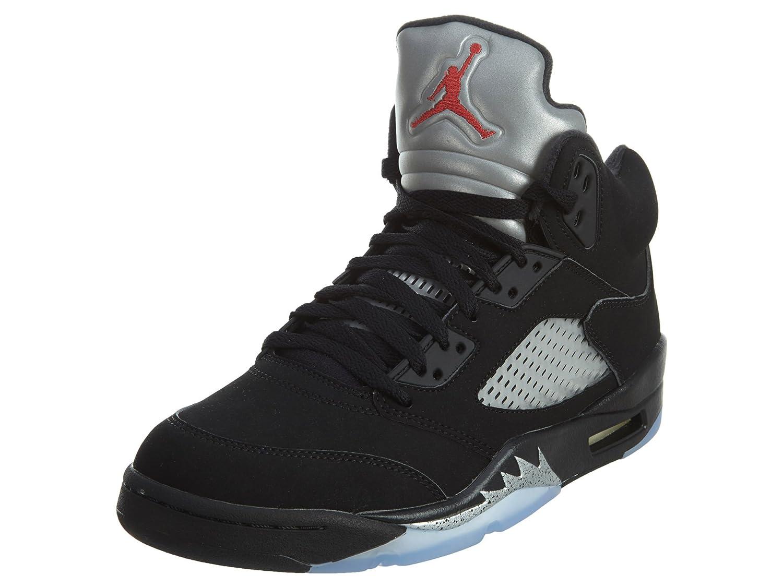 newest d8f09 a16e9 Amazon.com   Nike Mens AIR JORDAN 5 RETRO OG, BLACK FIRE RED-METALLIC SILVER -WHITE, 7   Fashion Sneakers