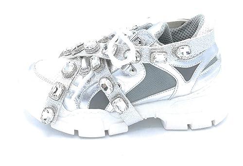 OVYE DLSOFY 3 Sneaker Lacci Pelle Argento Rete Cinturini