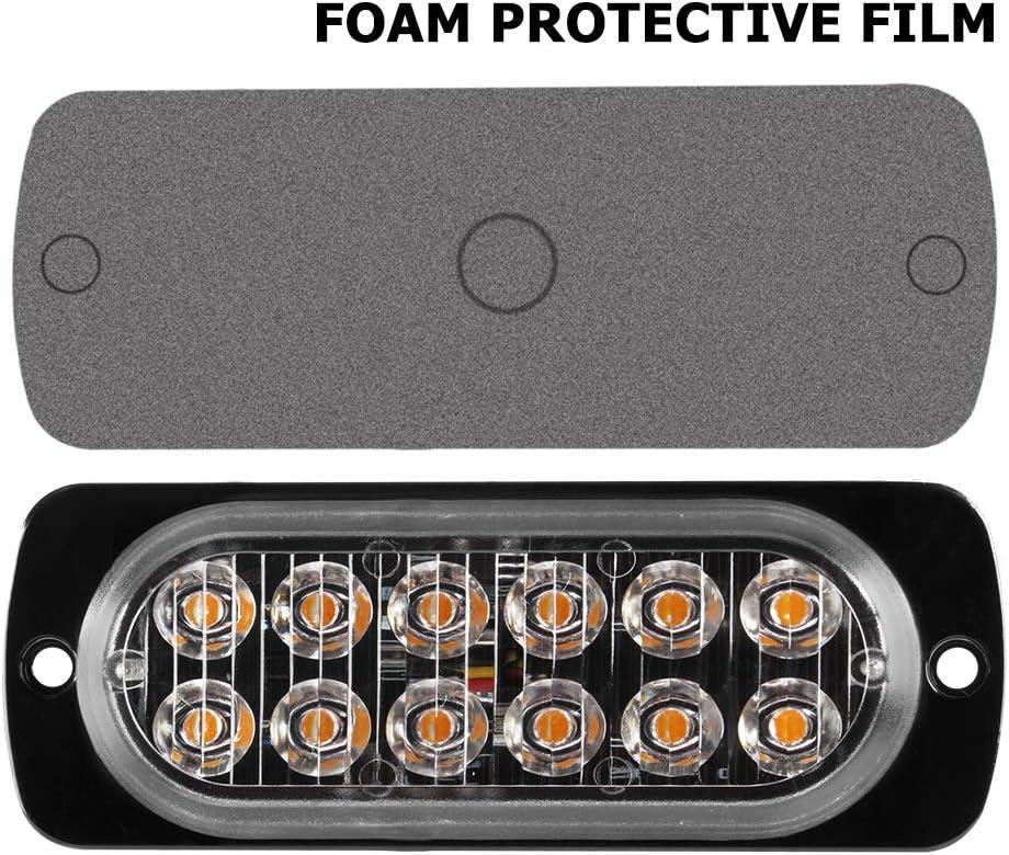 4Pcs 6LED Blue Ultra Slim Sync Feature Warning Emergency Beacon Hazard Flash Caution Strobe Light Bar Surface Mount for Car Truck 12-24V