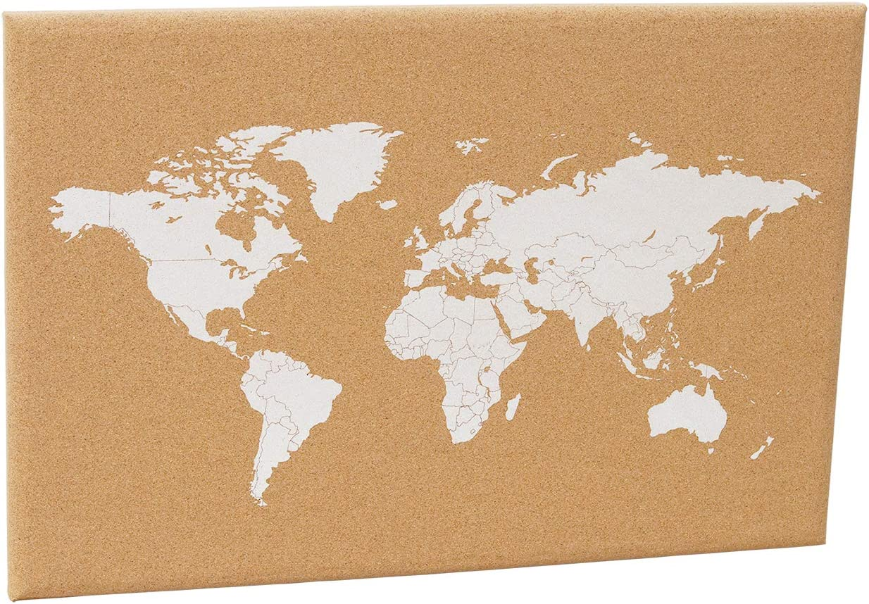 Cork Board World Map with Push Pin,Adventure World Map for Travelers,World Map Wall Art,Wood Map Home or Office Decor