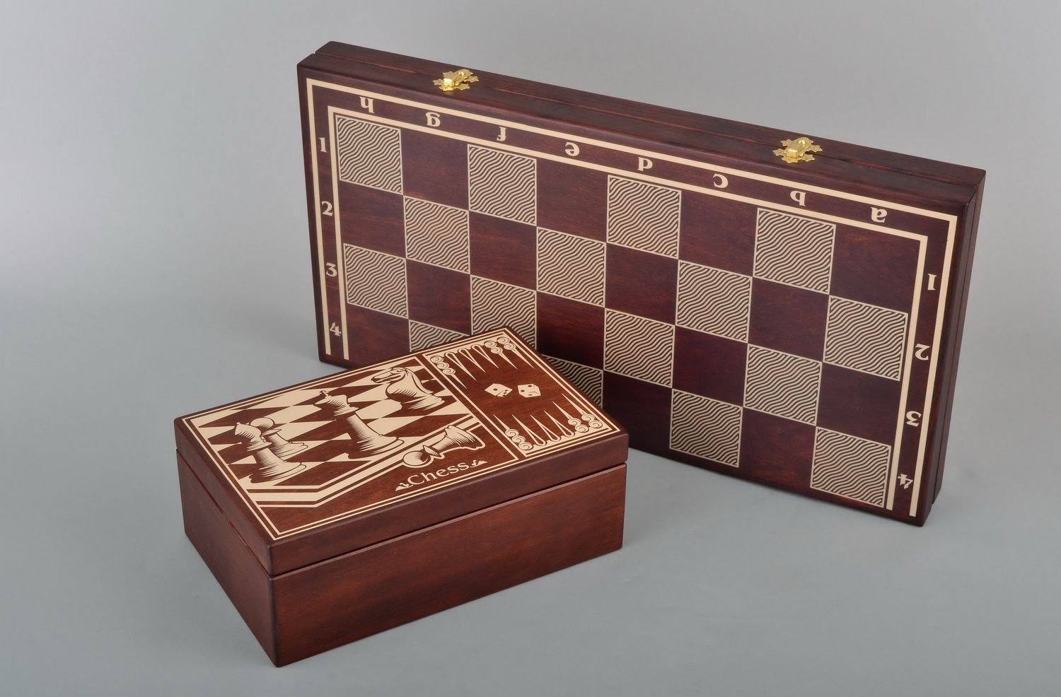 A Set of Brown Handmade Wooden Checkers, Chess and Backgammon Board Game with Accessories -Portable Travel Folding Carved Suitcase with Playing Pieces by Madeheart