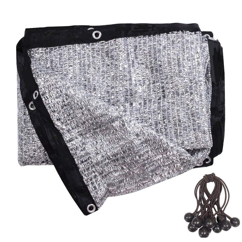 soclerg 70% Aluminet Shade Cloth 6.5 ft x 10 ft-Fabric Sun Block Sun Reflect-FREE 12pcs 6'' BALL BUNGEE by soclerg