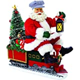 "Kurt Adler 9.5"" Fabriche' Battery-Operated Santa on Train with LED Tree"