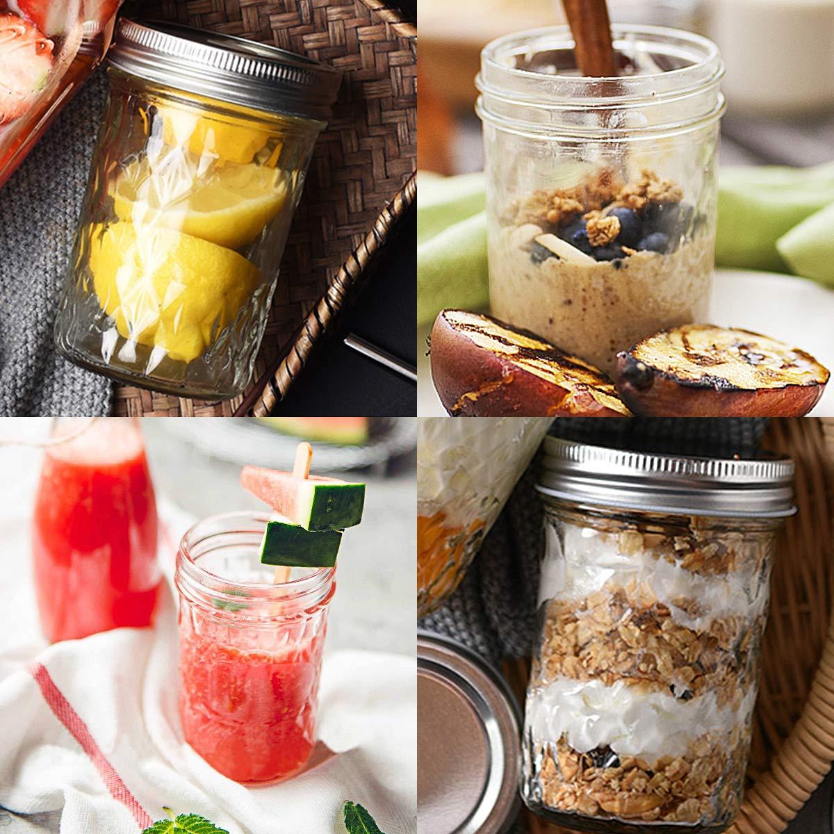 Mason Jars 8OZ, VERONES 8 OZ Canning Jars Jelly Jars With Regular Lids and Bands, Ideal for Jam, Honey, Wedding Favors, Shower Favors, Baby Foods, 30 PACK by VERONES (Image #3)