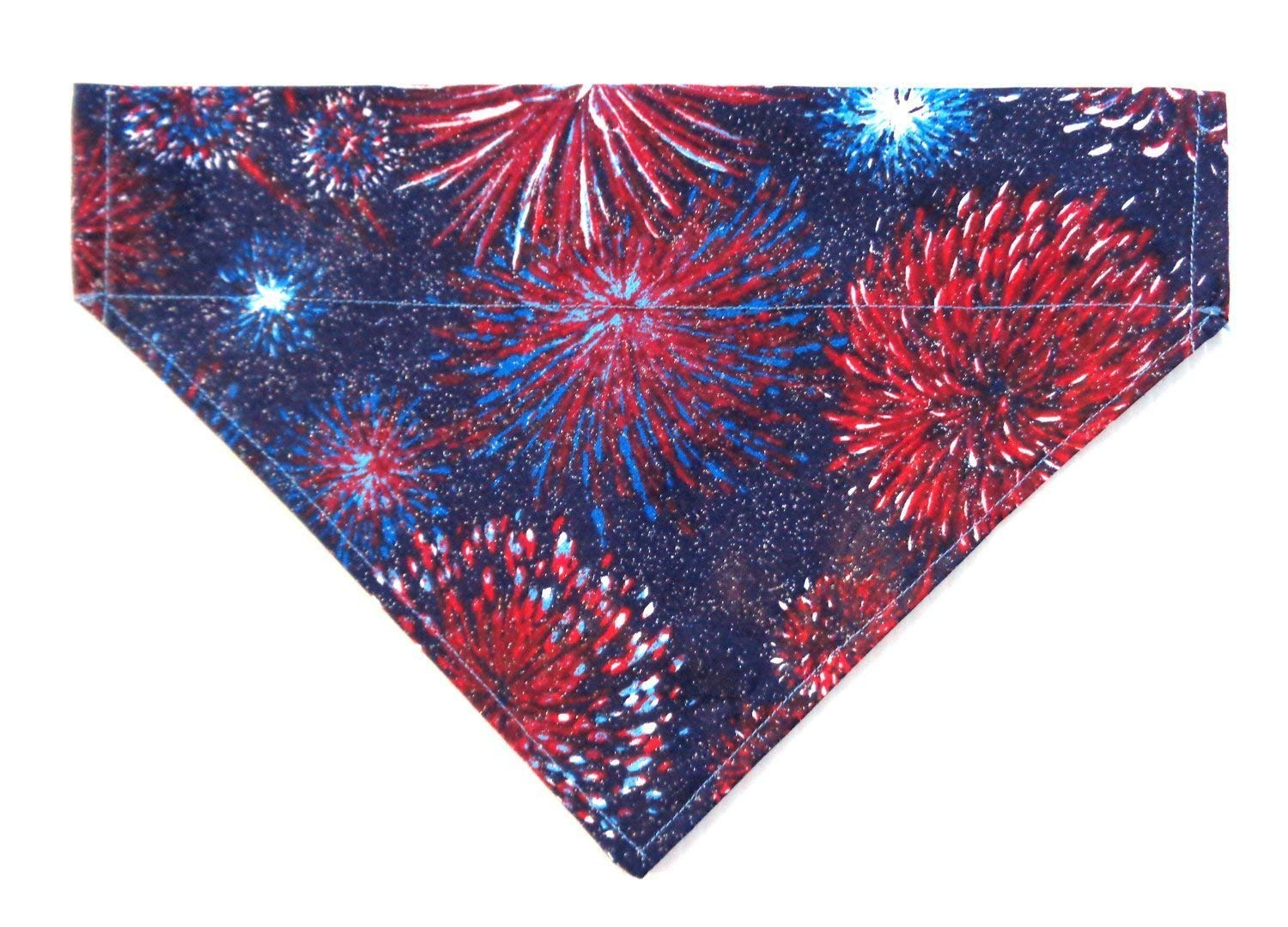 Red White and Blue Starburst Fireworks Print Patriotic Dog Bandana, Over the Collar Slip Thru Thread Through Pet Bib Doo Rag