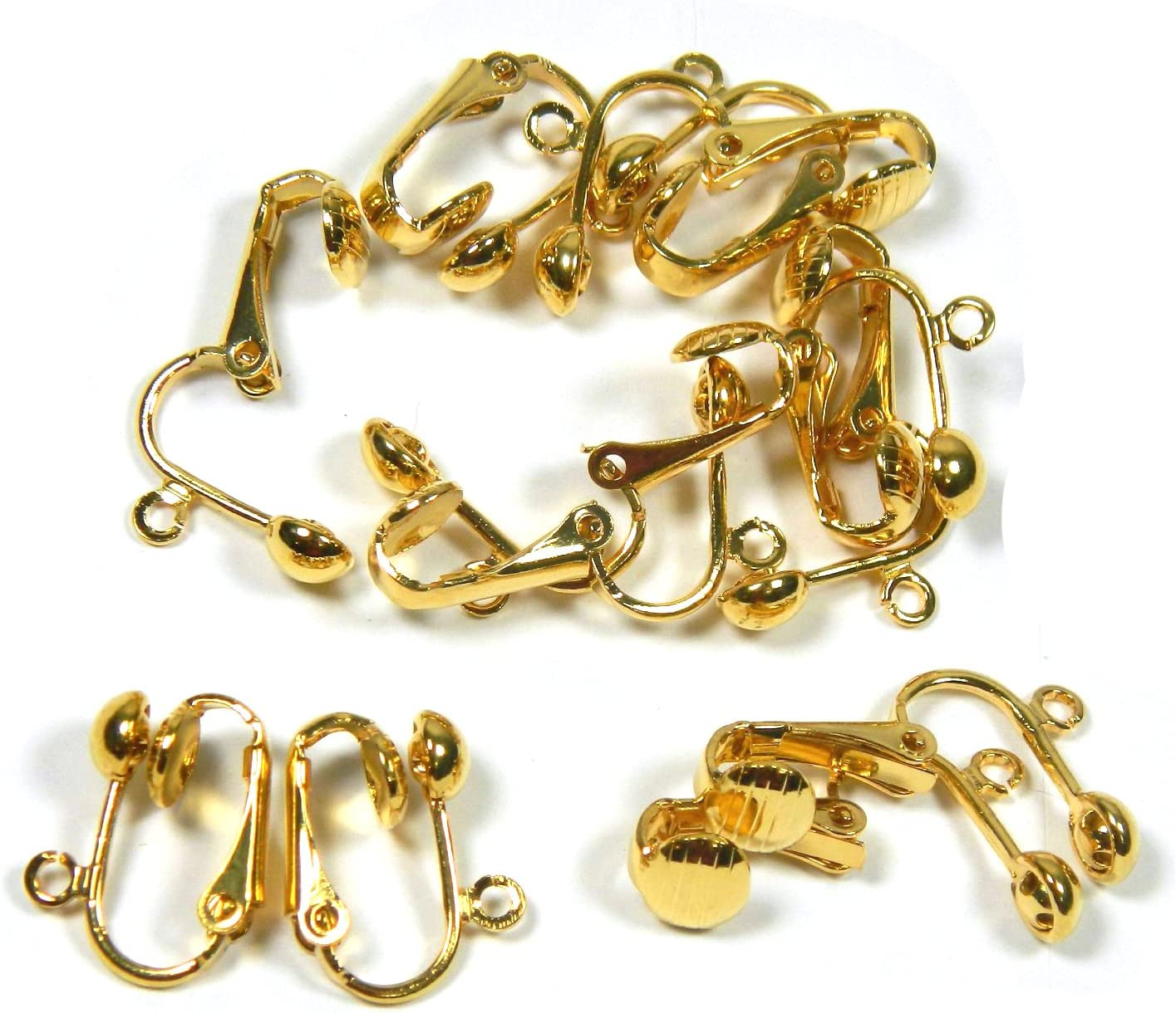 5 pairs of medium gold plated findings for jewellery making clip on earrings