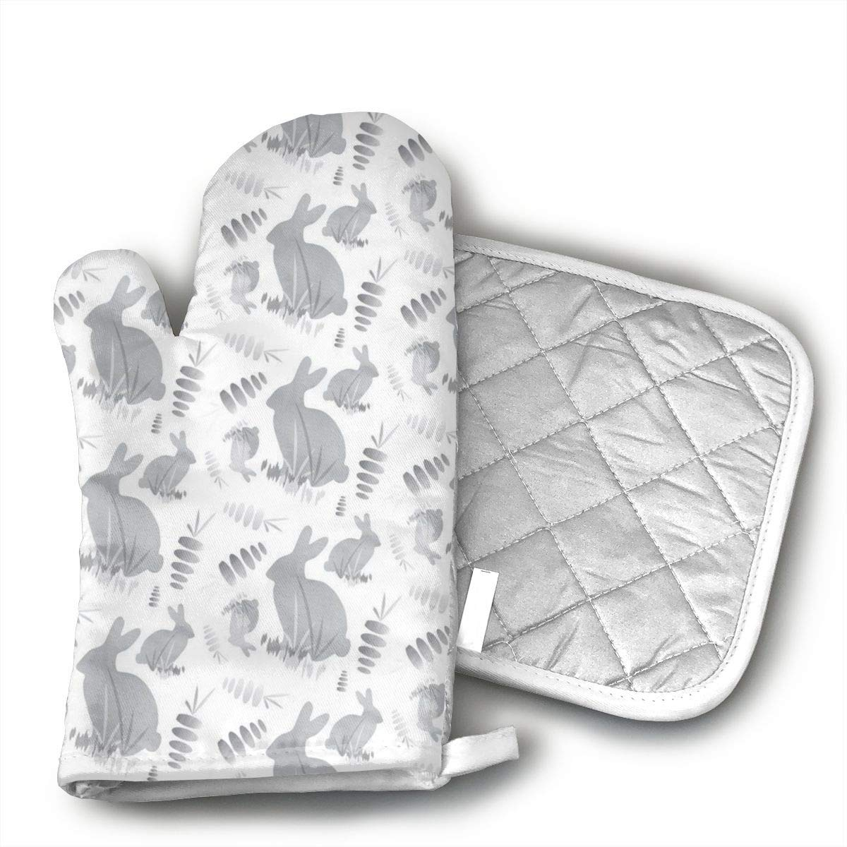 JFNNRUOP Easter Bunny Rabbit Animal Oven Mitts,with Potholders Oven Gloves,Insulated Quilted Cotton Potholders