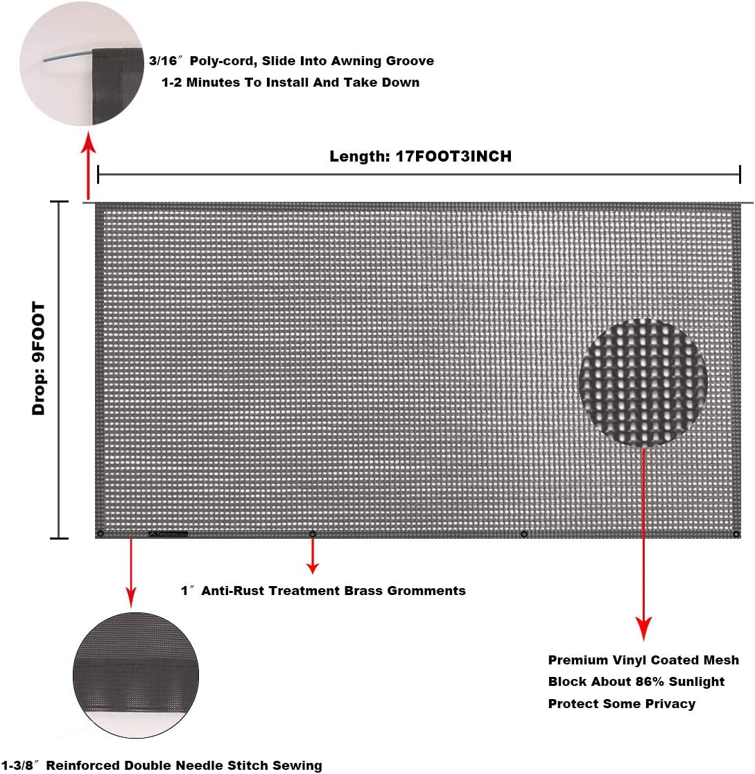 Tentproinc RV Awning Sunshade Screen ● 6X123 Brown Mesh Sun Shade ● Block Patio Front Sun Light ● Motorhome Camping Trailer UV Sunblocker ● Canopy Sunscreen-3 Years Lasting