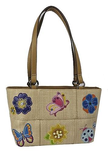 aa0a75227d Rosetti Straw Look Summer Shoulder Bag Handbag with Applique  Handbags   Amazon.com