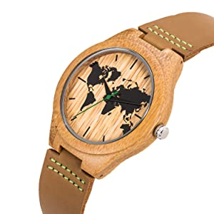 Leather Wood Watch,BIOSTON Natural Handmade 45mm Men Size Cowhide Bamboo Wooden Quartz Wrist Watches