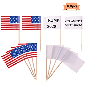 Xgood Degradable Blank Toothpick Flags US Cupcake Toppers Flag Picks For Party Cakes Foods Cheeses Sandwiches