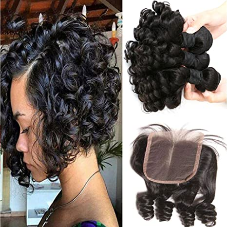 Aliglossy Brazilian Virgin Hair Funmi Hair With Closure Short Bob Weave Hairstyles Bouncy Curly Weave With Closure 100 Unprocessed 8a Hair Extensions
