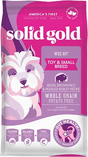 Solid Gold - Wee Bit With Real Bison, Brown Rice Pearled Barley - Potato Free - Fiber Rich with Probiotic Support - Holistic Dry Dog Food for Small Dogs of All Life Stages