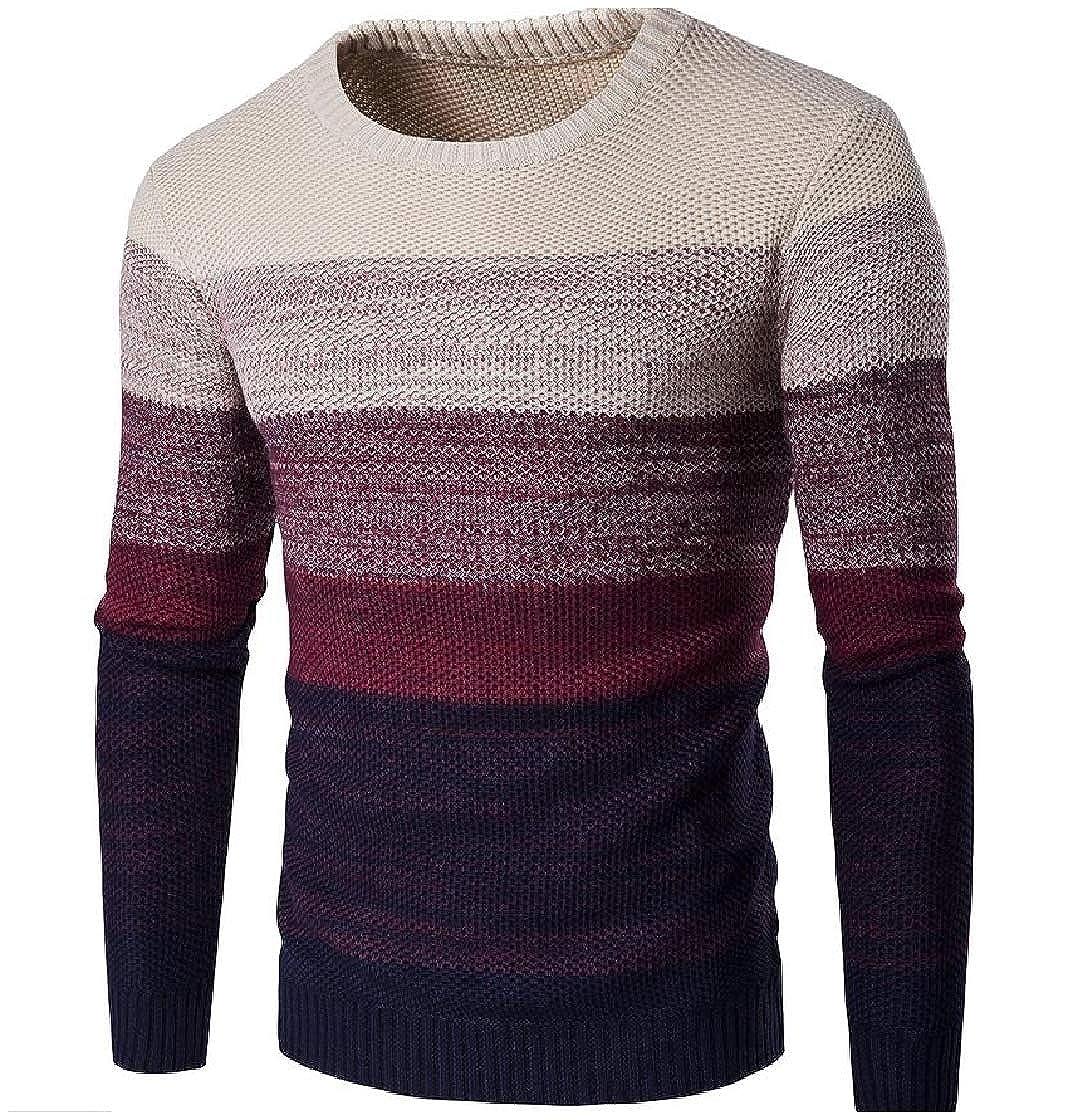DressUMen Warm Knitting Crew Neck Thickened Pullover Patchwork Sweater