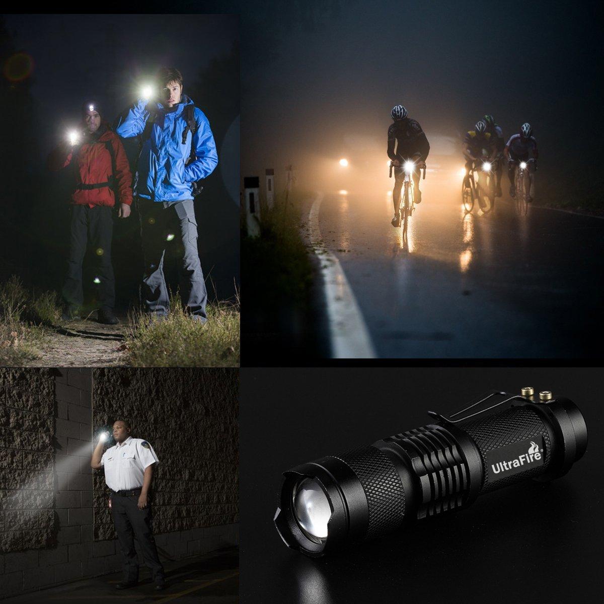3 Pack UltraFire Mini Flashlights Focus Adjustable SK68 Single Mode Tactical LED Flashlight, Ultra Bright 300 Lumens Torch by ULTRAFIRE (Image #7)