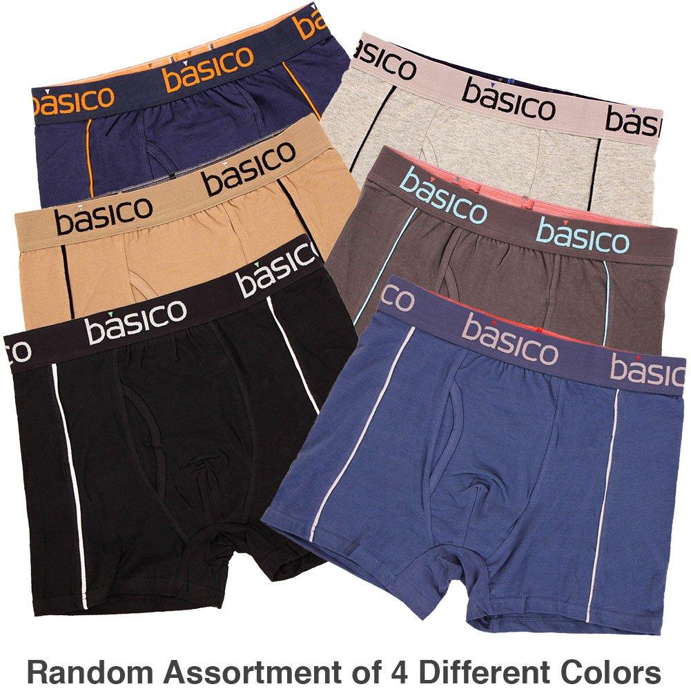 BASICO Mens 4 Pack of 100/% Cotton Color Boxer Briefs