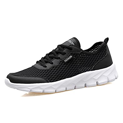 f84545e4d Mens Trainers Breathable Mesh Sneakers Running Sports Shoes Low Top Fitness  Gym Walking Trainers(Black