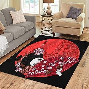 Pinbeam Area Rug Japan Geisha Japanese Woman Asian Beautiful Billboard Black Home Decor Floor Rug 3' x 5' Carpet