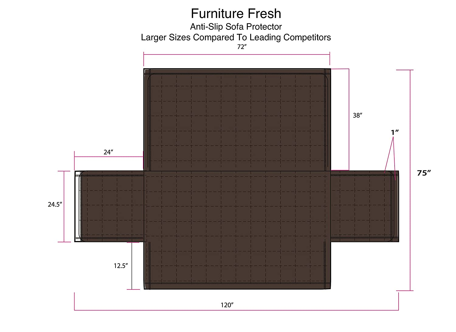 Furniture Fresh XL Sofa, Chocolate New and Improved Anti-Slip Grip Furniture Protector with Stay Put Straps and Water Resistant Microsuede Fabric