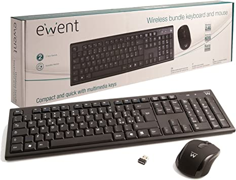 Ewent EW3134 - Pack de teclado y ratón inalámbrico, negro (teclado ...