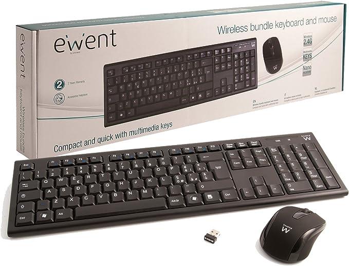Ewent EW3134 - Pack de teclado y ratón inalámbrico, negro (teclado español): Amazon.es: Informática