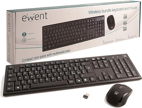 Ewent EW3134 - Pack de teclado y ratón inalámbrico, negro (teclado español)