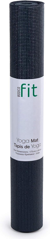 Black Bodico Non-Slip Yoga Mat Towel Set for Fitness
