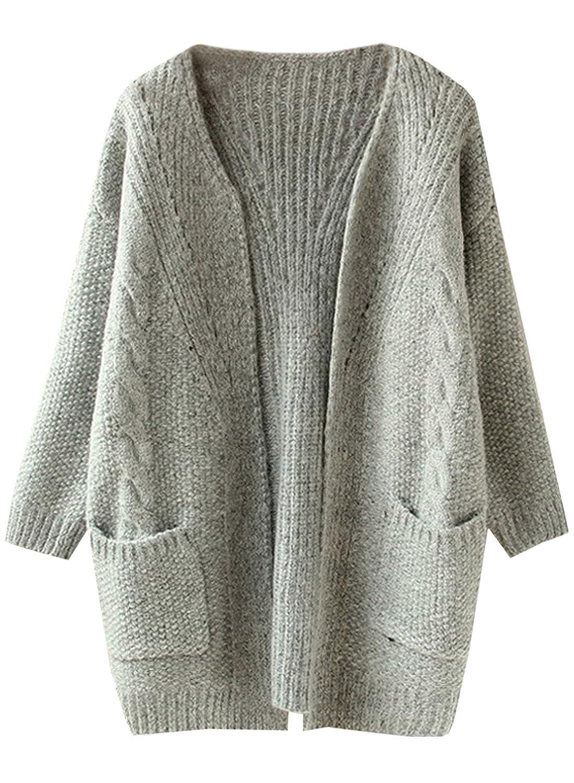 Futurino Damen Cable Knitted Boyfriend Pocket Open Front Cardigan