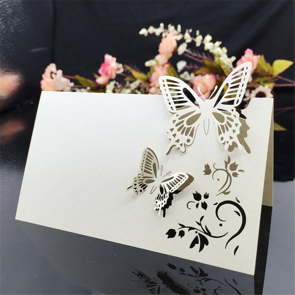 Toruiwa 50x Marque Place Carte de Nom Etiquette de Table Forme de Papillon pour C/ér/émonie de Mariage F/ête Anniversaire